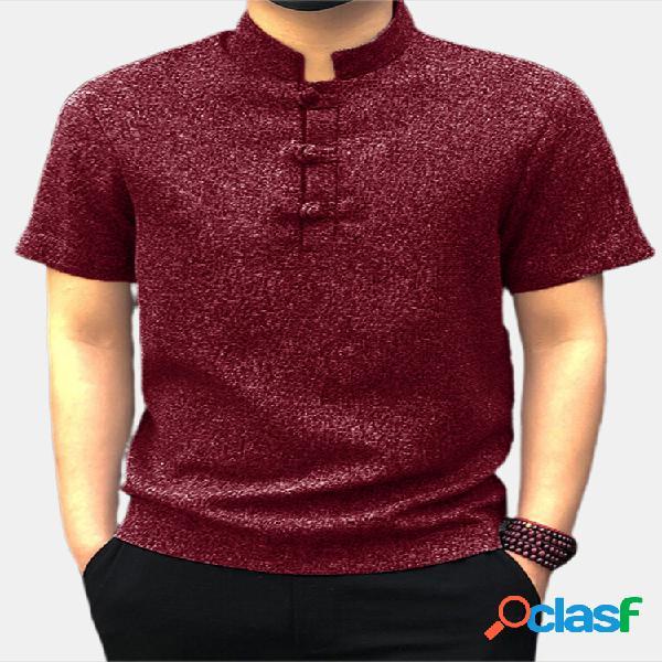 Camicia da uomo casual manica corta colletto alla coreana