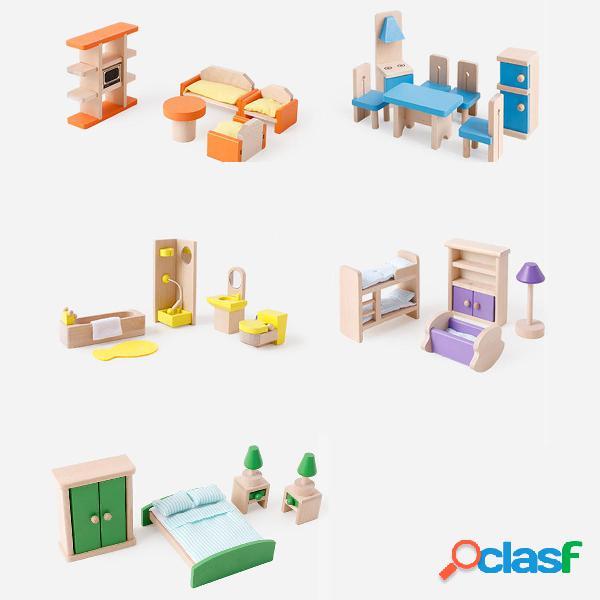 Casa delle bambole Mobili in legno in miniatura Bagno Cucina