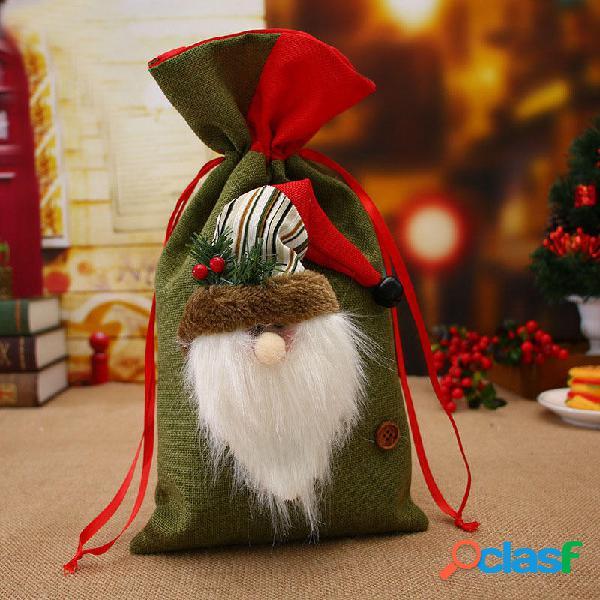 Confezione regalo di Natale in lino di cotone Loskii Borsa