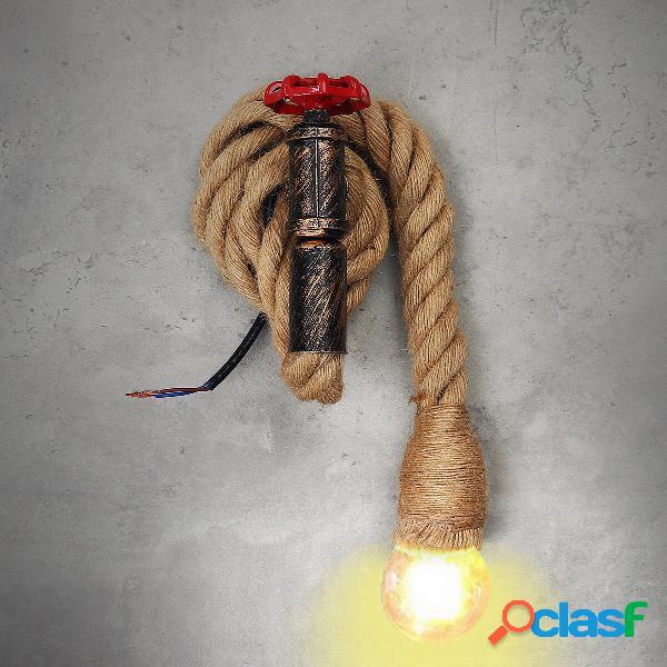 E27 Lampada da parete industriale vintage in corda di canapa