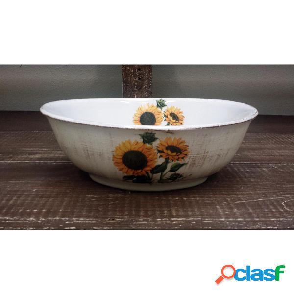 Insalatiera ovale in ceramica da 34xh16,5 cm decoro Girasoli