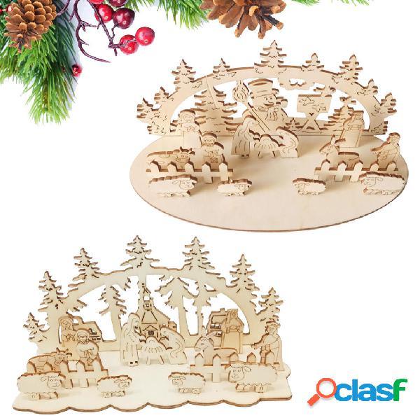 Loskii JM01692 Fai da te Natale Giocattolo in legno Natale
