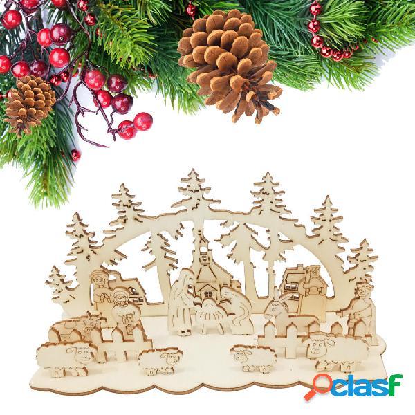 Loskii JM01693 Fai da te Natale Giocattolo in legno Natale