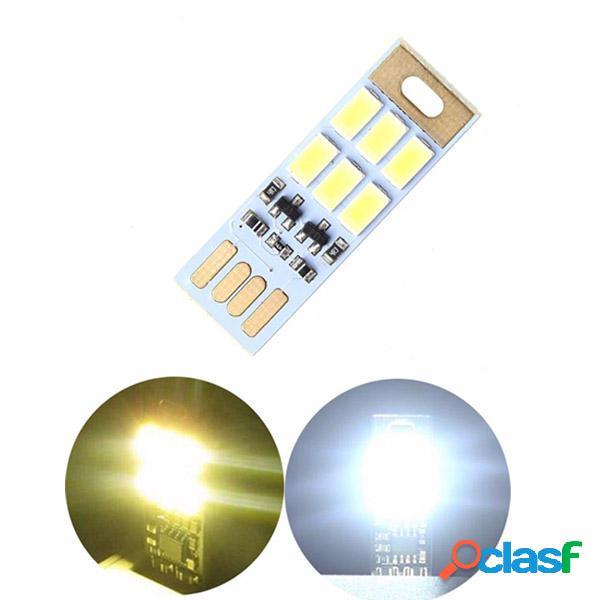 Mini 1W USB 6 LED Luce Noturno a Scheda Regolazione di