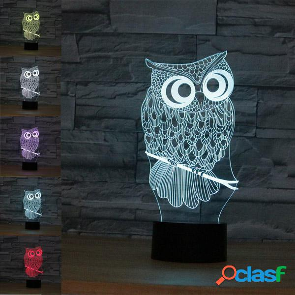 Owl USB Batteria 3D LED Luci Colorful Touch Control Night