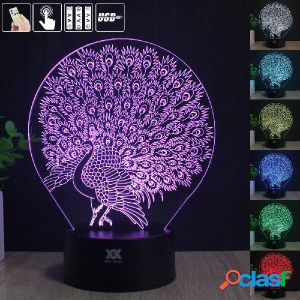 Peacock 3D Acrylic LED Mood Night Light 7 Touch Color USB