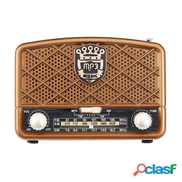 Retro AM 513-1629KHz SW FM 87-108MHz Radio AUX USB TF Card