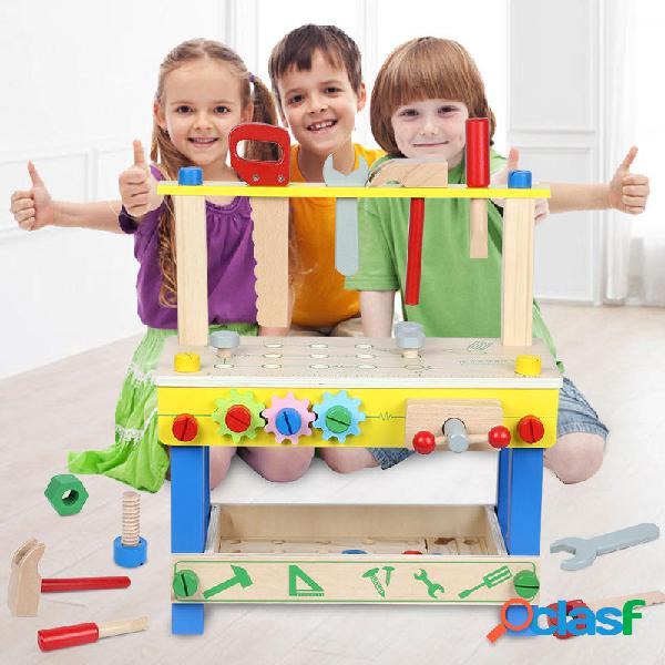 Set di panche per attrezzi da lavoro in legno per bambini