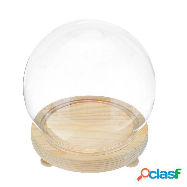 Vetro trasparente decorativo rotondo Dome con base in legno