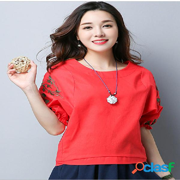 Vintage Women Flowers Embroidery Camicia Top in Pullover