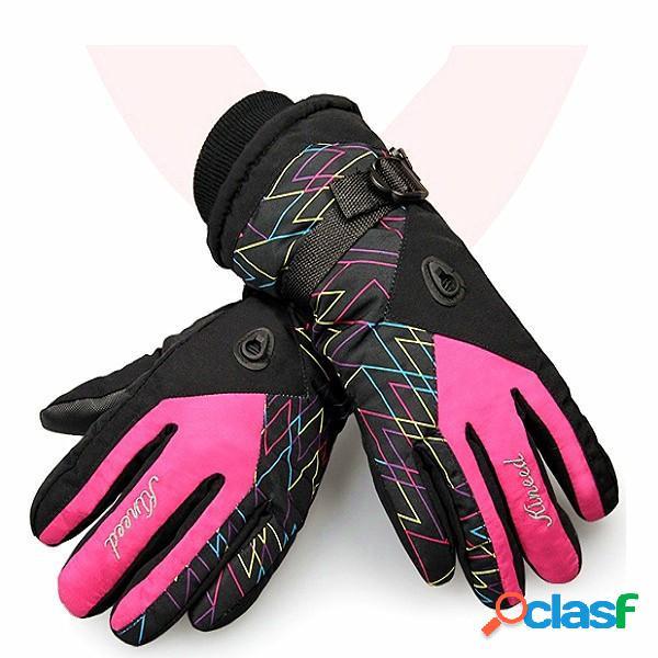 donne caldi guanti da sci impermeabili gemelli fascio sci