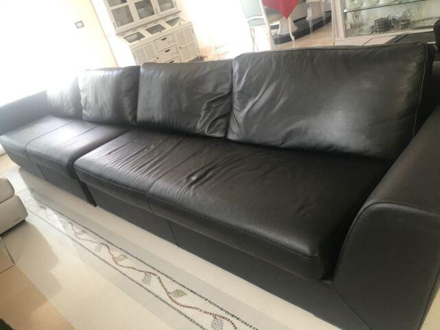 Coppia divani in pelle nera