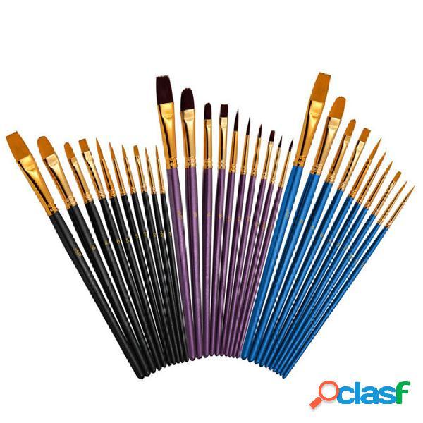 10 pezzi pittura a testa mista Pennello Nylon Pennello set