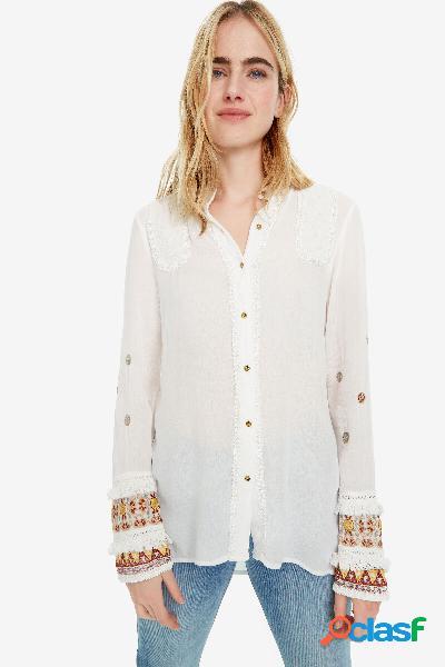 Camicia bianca con polsini boho Iman - WHITE - XL