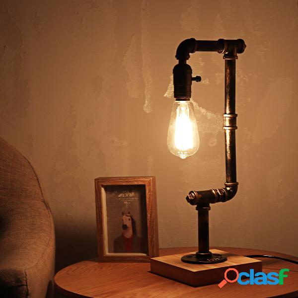 E26 Industriale ferro retrò tavolo in legno lampada