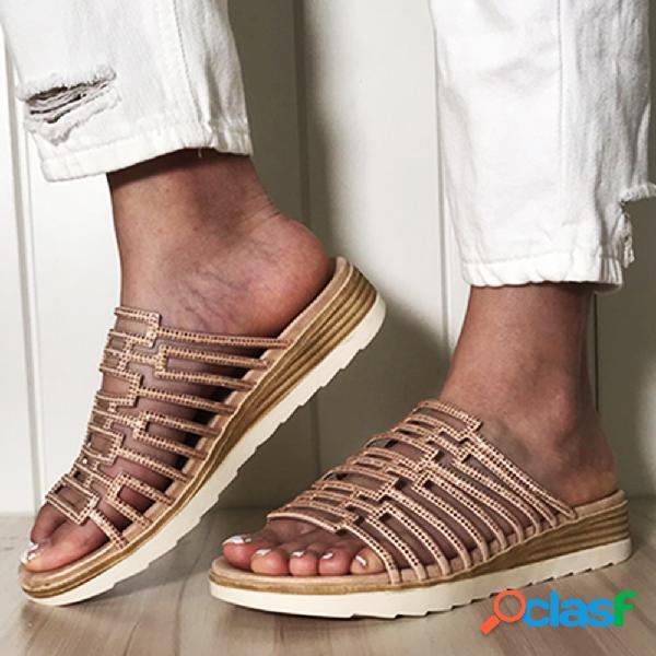 Pantofole casual da donna con strass decor scava fuori