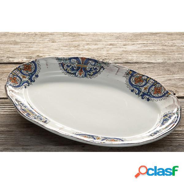 Piatto da portata ovale in ceramica da 40x26,5 cm decoro