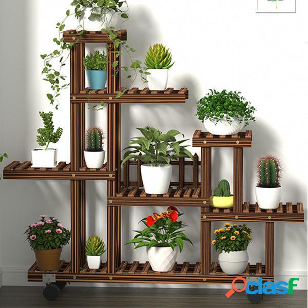 Supporto multi-livello per piante in legno per piante da