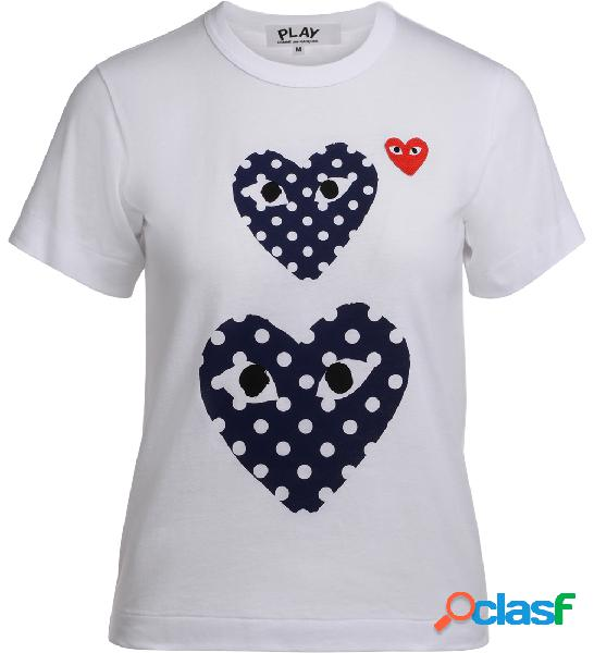 T-Shirt Comme Des Garçons PLAY bianca con cuori blu a pois
