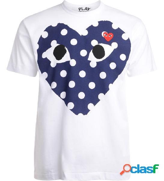 T-Shirt da uomo Comme Des Garçons PLAY bianca con cuore blu