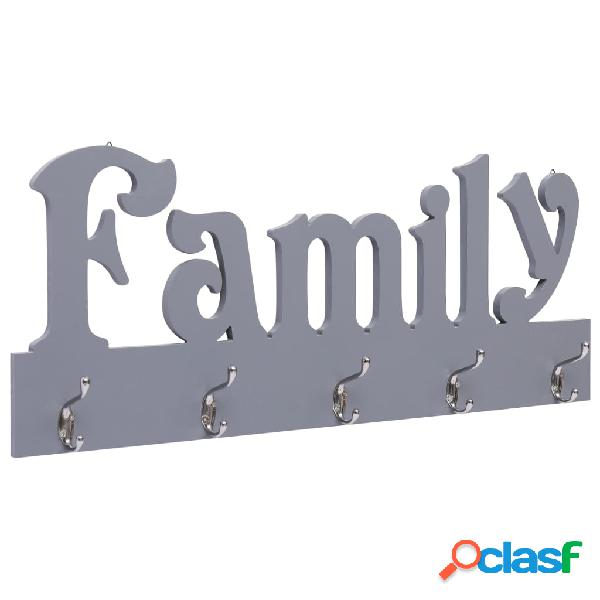 vidaXL Appendiabiti a Muro FAMILY Grigio 74x29,5 cm