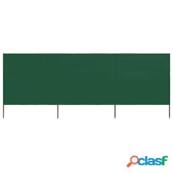 vidaXL Paravento a 3 Pannelli in Tessuto 400x80 cm Verde