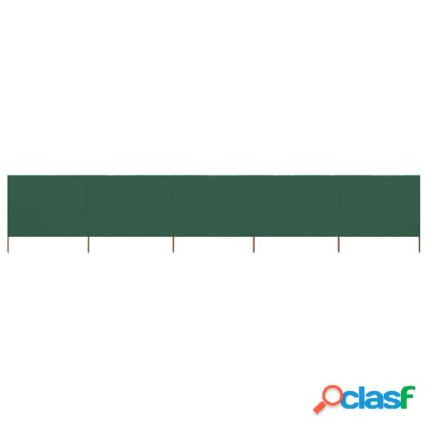 vidaXL Paravento a 5 Pannelli in Tessuto 600x80 cm Verde