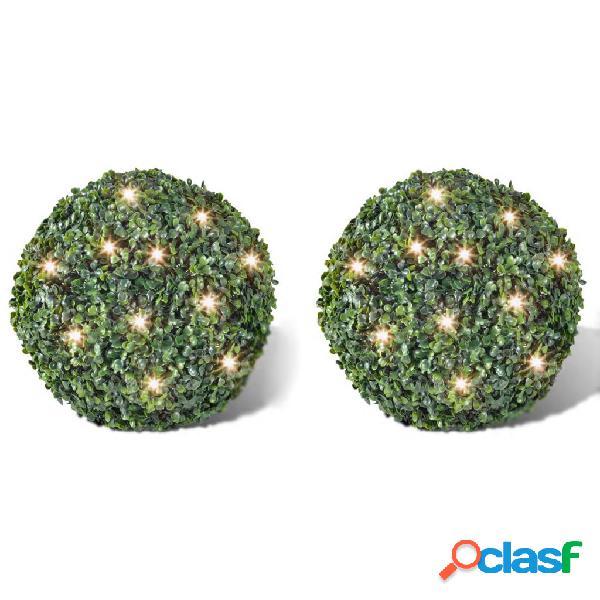 vidaXL Piante di Bosso Artificiali a Palla 2 pz 35 cm Luce