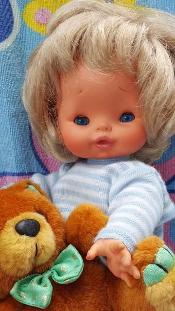 Bambola Furga vintage doll con pigiamino e orso