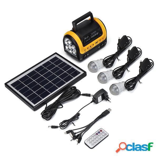 100-240 V 3000 mAh Ricaricabile LED MP3 FM solare Pannello