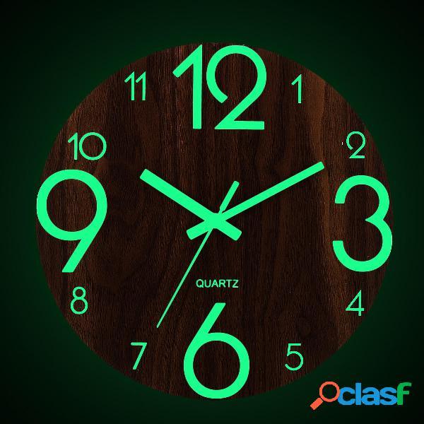 """12 """"orologio da parete luminoso in legno di quarzo"""