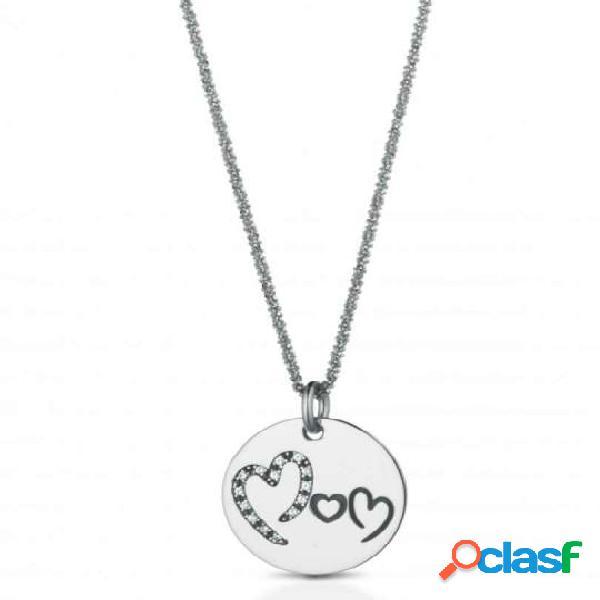 """Collana in argento 925 con ciondolo tondo e incisione """"Mom"""""""