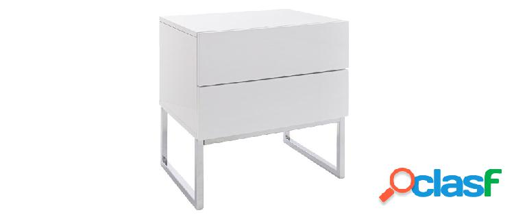Comodino di design 2 cassetti bianco laccato brillante NYX