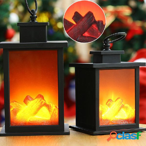 Lanterna a LED per camino senza fiamma effetto fuoco vintage
