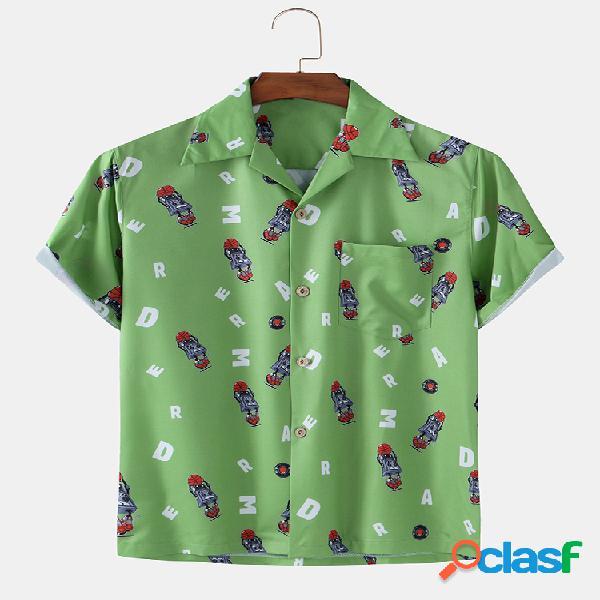 Men Fun Cartoon stampato Beach Holiday Casual Camicia