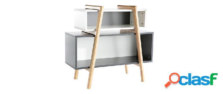 Mobile contenitore di design bianco, grigio e legno WOOD