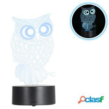 Premium 3D Lampada a LED / Lampada da notte - 3W - Gufo