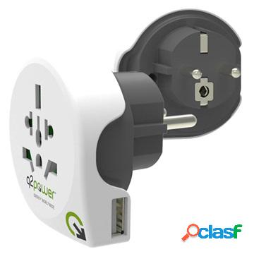Q2Power 9-in-1 World to Europe Travel Adapter with USB Slot
