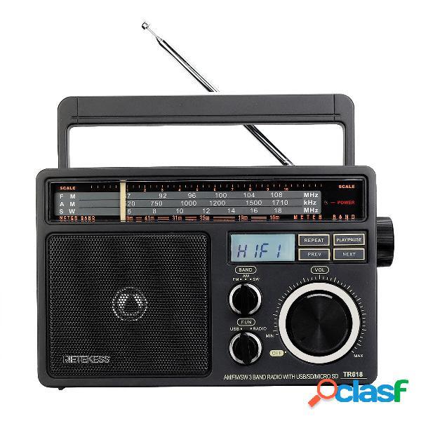 Retekess TR618 FM AM SW 3 Banda Radio Lettore MP3 per
