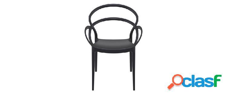 Sedie di design impilabili nere da interno/esterno (set di