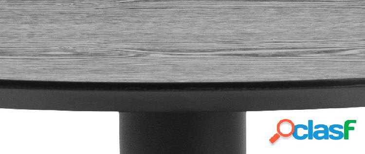 Tavolo da pranzo rotondo legno nero e metallo D80 cm KALI