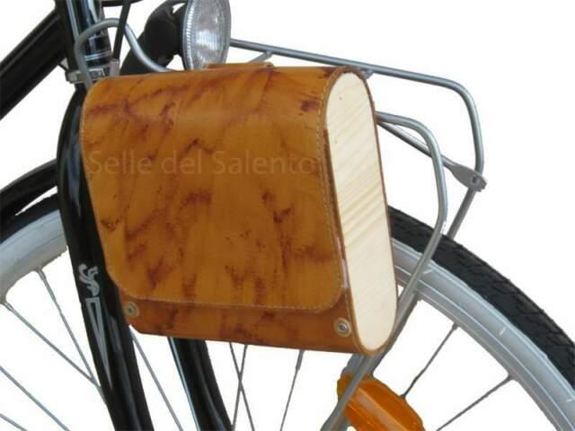 Borsa laterale in cuoio è legno per bicicletta vintage