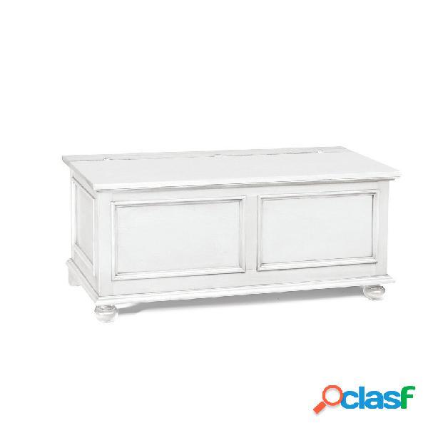 Cassapanca in legno bianco 100×44×51 cm