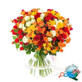 Composizione floreale molto pregiata dai vari colori -