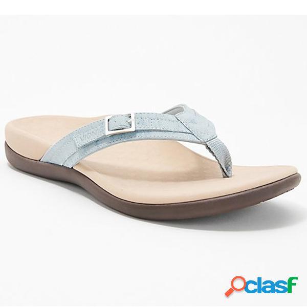 Pantofole da spiaggia piatte casual con fibbie decorative da