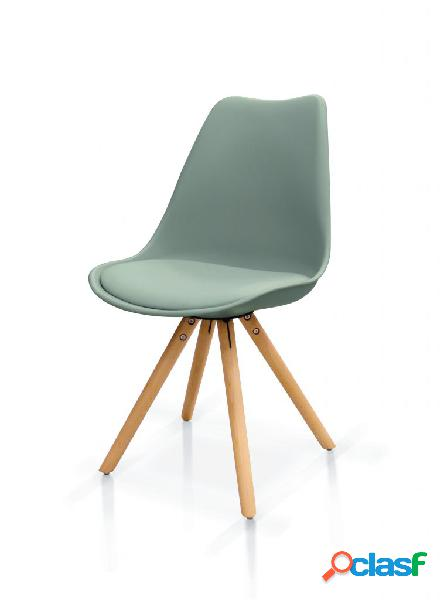 Set di sedie in polipropilene grigio con seduta imbottita e