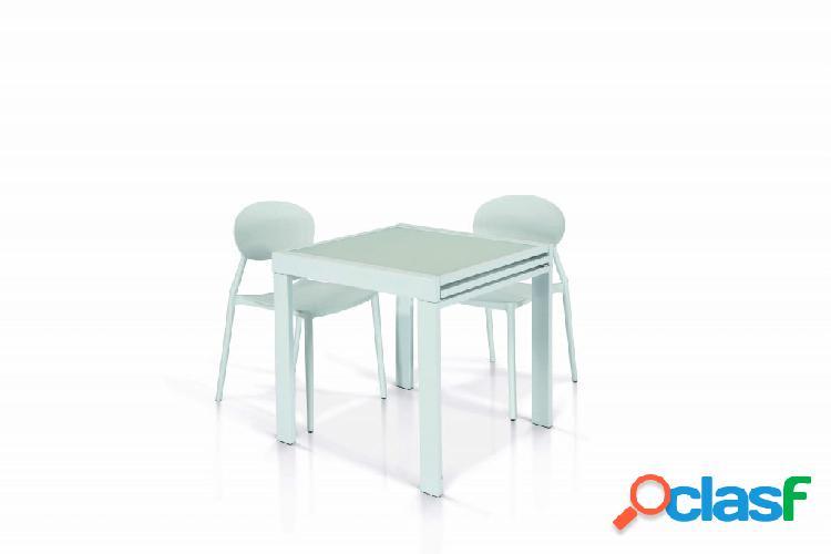 Tavolo in vetro e metallo di colore bianco allungabile