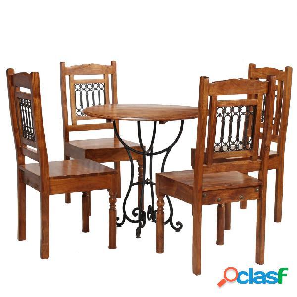 vidaXL Set Tavolo da Pranzo 5 pz Legno Massello di Acacia e