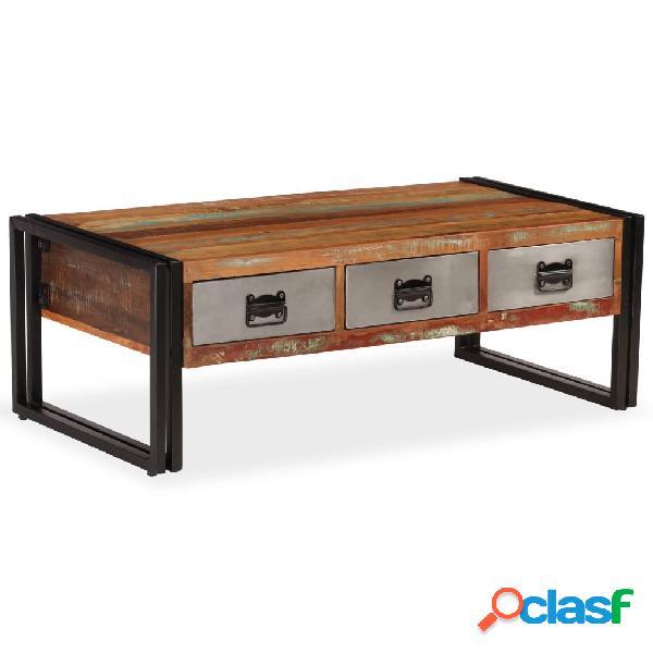 vidaXL Tavolino da Caffè 3 Cassetti in Massello Recuperato