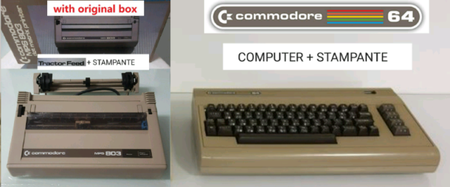 Computer COMMODORE C64 USATO + STAMPANTE NUOVA mod. MPS 803